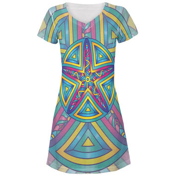 Mandala Trippy Stained Glass Starfish All Over Juniors V-Neck Dress