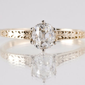 Antique 14K White and Yellow Gold Solitaire Diamond Engagement Ring