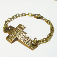 Brass Cross Hammered Sideways Bracelet, Cross Charm Chainmaille Bracelet, Religiouis Jewelry, For Her, For Him. Unisex Jewelry