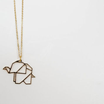 FREE SHIPPING - Geometric 18k Gold Plated Elephant Pendant Necklace