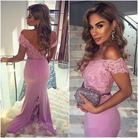 Off The Shoulder Sheath Evening Party Dress Sexy Open Back Formal Pageant Gown