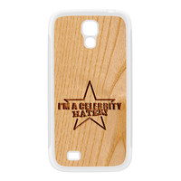 Carved on Wood Effect_Celebrity Hater White Silicon Rubber Case for Galaxy S4 by Chargrilled
