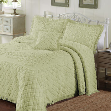 King Size Green Honeydew Chenille Bedspread in 100% Cotton with Fringe Edge