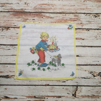 Vintage Childs Kids Childrens Handkerchief Hankie .