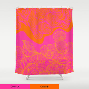 CUSTOM Shower Curtain,Choose Colors/Fonts/Tag,Add Monogram/Name,Hot Pink/Orange,Bathroom Decor,Bathroom Art,Standard Size/XL,Printed in USA