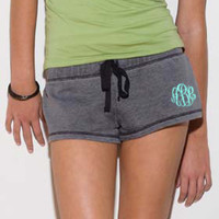 Monogram Ladies Low Rise Fleece Short  Font shown MASTER CIRCLE in grey