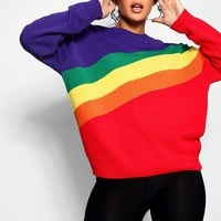 Rainbow Stripe Oversized Jumper | Boohoo