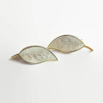 Leaf Earrings, White Enamel, Vintage David-Andersen Norway Sterling, Designer Willy Winnaess, Basse-Taille & Gold Wash, Was 54.00 USD!