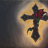 Cross and rose oil painting on canvas original painting varnished lovely 12x16 church decoration Easter