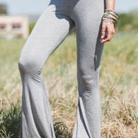 Cher Solid Flare Pants - Heathered Gray