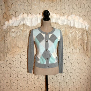 Argyle Sweater Diamond Print Cardigan Gray Wool Preppy Sweater Wool Cardigan Angora Sweater Talbots Petite Clothing XS Small Womens Clothing
