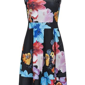 Streetstyle  Casual Charming Round Neck Floral Sleeveless Skater Dress