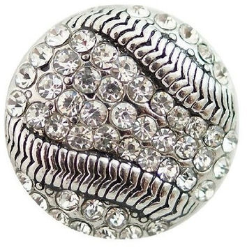 Chunk Snap Charm Baseball Rhinestones Bling 20 mm