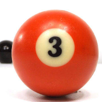 vintage 70s pool ball number 3 three red resin billiard collectible object decorative home decor altered art game room men modern retro old