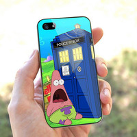 Patrick star rainmeter and doctor who tardis - for iPhone 4 case iphone 4S case iPhone 5 Case iphone 4/4s/5 Case Hard plastic Cover