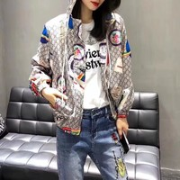 """Gucci"" Women Fashion GG Letter Logo Pattern Zip Cardigan Long Sleeve Hooded Coat Sun Protection Clothing"