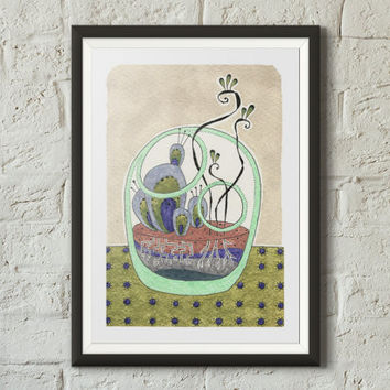 Cute terrarium fine art print illustration, Plants, Greenery print, Bowl, Coffee stains, Succulents, Watercolor, Sharpie, Colorful