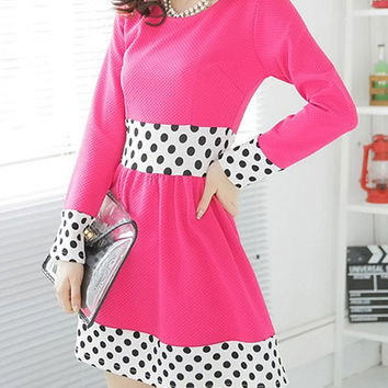 Pink Polka Dot Panel Long Sleeve Skater Dress