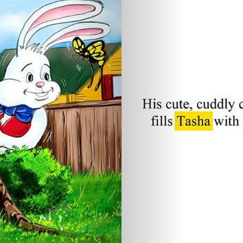 SALE Easter Story Book, Personalized, Peter Cottontail Mystery, Bunny Rabbit