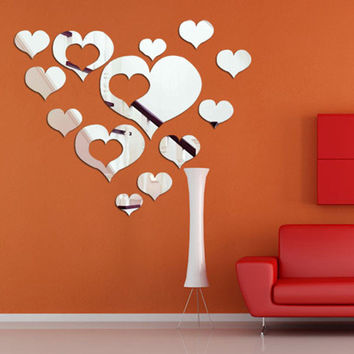 3D Removable Heart Art Decor Wall Stickers Living Room Decorations Decals W_C (Color: Silver)