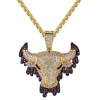 14k Gold Finish Purple Dripping Bull Iced Out Pendant Chain