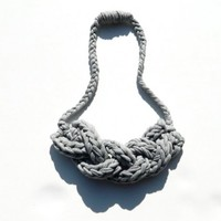 T Shirt Necklace - Statement Jewelry - Upcycled Braided Yarn - Gray