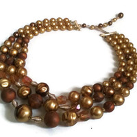 "Lucite Necklace - Vintage 1950's Brown and Gold 3-Strand Necklace - 14"" extends to 17"""