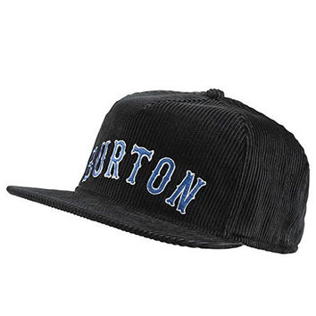 Burton Men's Darrell Snapback True Black Baseball Cap Corduroy Hat One Size