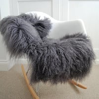 Grey Sheepskin soft Curly Tibetan Luxury long haired Sheepskin Rug