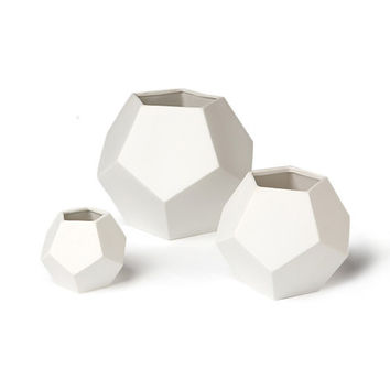 White Faceted Ceramic Vase
