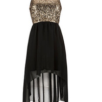 Madam Rage Gold Sequin Black Dip Hem Dress