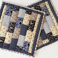 "Quilted Patchwork Pot Holders / Hot Pads / Trivets / Mug Rugs / Candle Mats – 10-1/2"" x 10-3/4"" - Set of 2 – Blue, Cream and White"