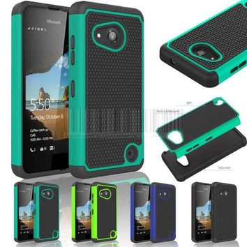 DKF4S Hybrid Rugged Heavy Duty Impact Protective Case Silicone Hard Shockproof Cover for Nokia Microsoft Lumia 550 With/Without Films