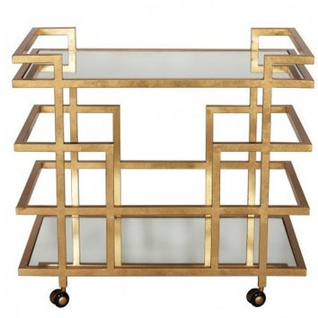 Ireland Bar Cart-Gold