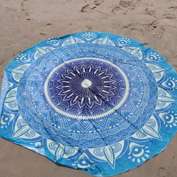 Mandala Round Beach Towel Sky Blue