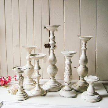 Antique Cottage White Distressed Candle Holders Tall Ornate Stick Chunky