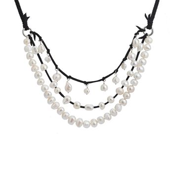 3 strand pearl necklace Solid knotted and single drop necklace