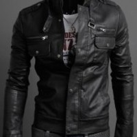 Pockets Design Long Sleeves PU Leather Jacket