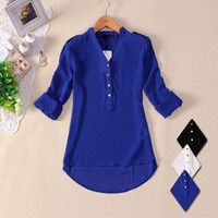 Long Sleeve Chiffion V-neck Pocket Shirt