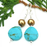 Turquoise Teardrop Pearl Earrings, Blue Gemstone Handmade Jewelry Gift