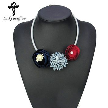 Handmade Red Grey Blue Fabric Flower Choker Necklace Fashion Indian Jewelry 2018 Hot Pendant Girl Woman Accessories Xmas Gift