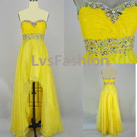 Strapless Sweetheart Front Short  Long Back Organza Yellow Prom Dress Bridesmaid Dress Party Dress, Evening Gown