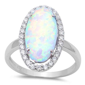 A Perfect 6CT Cabochon Australian White Opal Engagement Ring