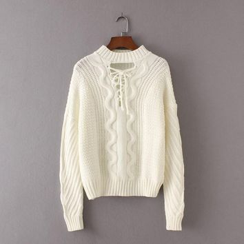 Aubrey Lace Up Front Cable Knit Sweater