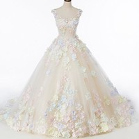 Luxury Wedding Dresses Colorful Flower Lace wedding bridal Gown