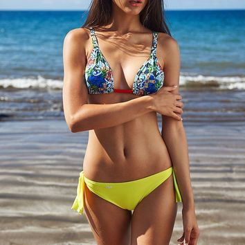 Irgus Swimwear Blue Print Triangle Top & Lime Green Tie Side Cheeky Bottom Bikini (Other colors available)