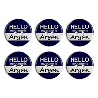 Aryan Hello My Name Is Plastic Resin Button Set of 6