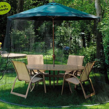 Mesh Mosquito Net - Fits Over 9' Patio Umbrella