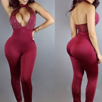 Burgundy Patchwork Cut Out Halter Neck Backless Long Jumpsuit With Rhinestones