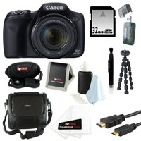 Canon Powershot SX520 HS 16.0 MP Digital Camera with 42x Optical Zoom and 1080p Full HD Video plus 32GB Deluxe Accessory Kit
